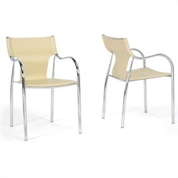 Baxton Studio Harris Dining Chair in Ivory (Set of 2)