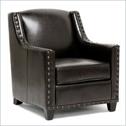 Baxton Studio Wallace Faux Leather Club Arm Chair in Brown