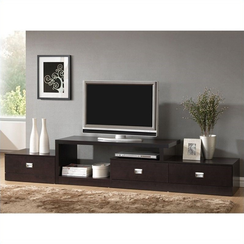 Marconi Asymmetrical Tv Stand In Dark Brown Ftv 4125