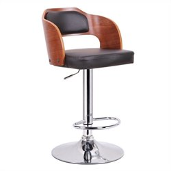 Baxton Studio Sitka Bar Stool in Walnut and Black
