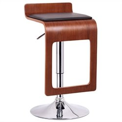 Baxton Studio Murl Bar Stool in Walnut and Black (Set of 2)