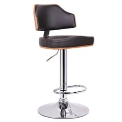 Baxton Studio Cabell Bar Stool in Walnut and Black