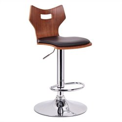 Baxton Studio Amery Bar Stool in Walnut and Black (Set of 2)