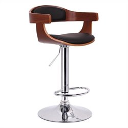 Baxton Studio Garr Bar Stool in Walnut and Black