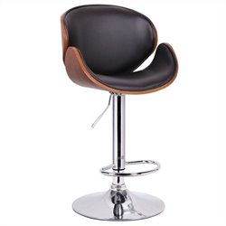 Baxton Studio Crocus Bar Stool in Walnut and Black