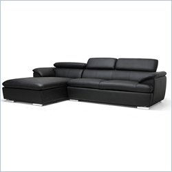 Baxton Studio Ferdinand Sectional Sofa in Black
