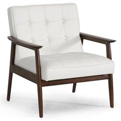 Baxton Studio Stratham Tufted Faux Leather Arm Chair in White