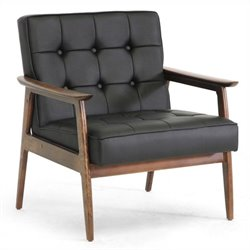 Baxton Studio Stratham Faux Leather Club Chair in Black