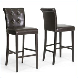 Baxton Studio Torrington Bar Stool in Dark Brown (Set of 2)