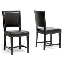 Baxton Studio Nottingham Dining Chair in Dark Brown (Set of 2)
