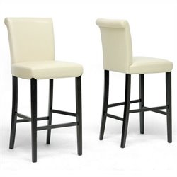 Baxton Studio Bianca Bar Stool in Cream (Set of 2)