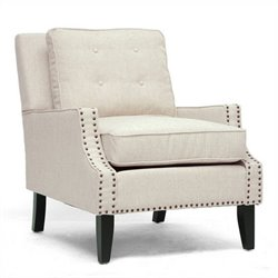 Baxton Studio Norwich Fabric Tufted Club Arm Chair in Beige