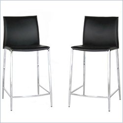 Baxton Studio Jenson Counter Height Stool in Black (Set of 2)