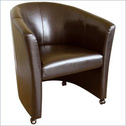 Baxton Studio Faux Leather Club Barrel Chair in Brown