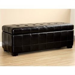 Bench Ottoman in Black with Lift-top Storage