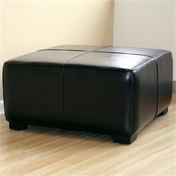 Baxton Studio Square Leather Ottoman Footstool in Black