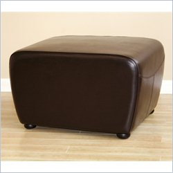 Baxton Studio Leather Ottoman in Dark Brown