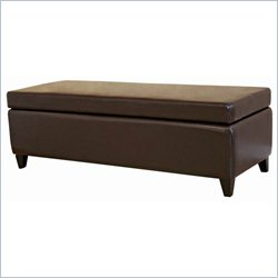 Bench Ottoman in Dark Brown with Lift-top Storage