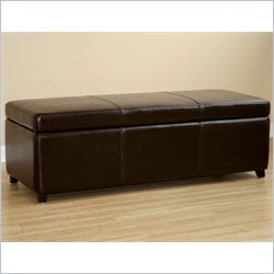 Large Bench Ottoman in Dark Brown