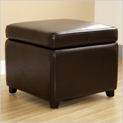 Baxton Studio Small Storage Cube Ottoman in Dark Brown