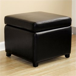 Baxton Studio Small Storage Cube Ottoman in Black
