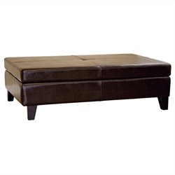 Sandusky Leather Storage Cocktail Ottoman in Dark Brown