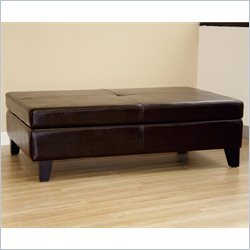 Baxton Studio Sandusky Leather Storage Cocktail Ottoman in Dark Brown
