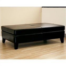 Baxton Studio Leather Storage Cocktail Ottoman in Black
