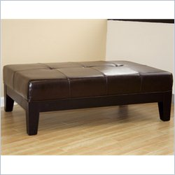 Baxton Studio Leather Cocktail Ottoman in Dark Brown