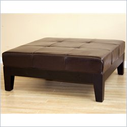 Baxton Studio Square Leather Cocktail Ottoman in Dark Brown