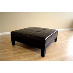 Baxton Studio Square Cocktail Ottoman in Black
