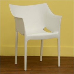Baxton Studio Pastic Arm Chair in White (Set of 2)