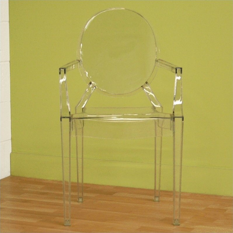 Dymas Armed Ghost Chair in Clear (Set of 2)