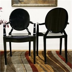 Baxton Studio Dymas Armed Ghost Chair in Black (Set of 2)