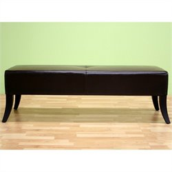 Baxton Studio Danilo Bench Ottoman in Dark Brown