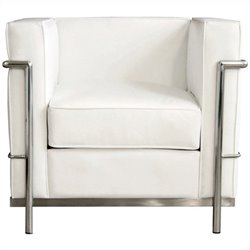 Le Corbusier Petite Leather Club Arm Chair in White