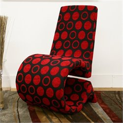 Baxton Studio Forte Accent Chair in Black and Red (Set of 2)