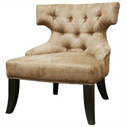 Baxton Studio Microfiber Tufted Lounge Chair in Tan