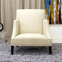 Baxton Studio Fabric Swayback Club Arm Chair in Ivory