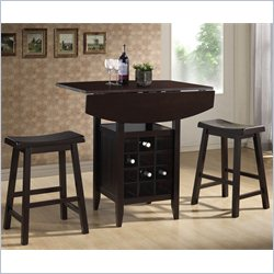 Baxton Studio Reynolds 3 Piece Pub Set in Black
