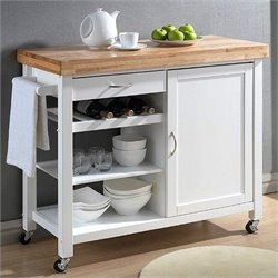 Baxton Studio Denver Kitchen Cart in White