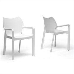 Baxton Studio Limerick Stackable Dining Chair in White (Set of 2)