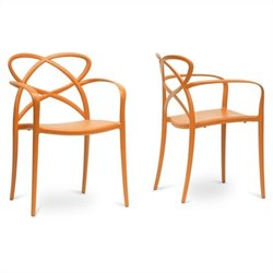 Baxton Studio Huxx Stackable Dining Chair in Orange (Set of 2)