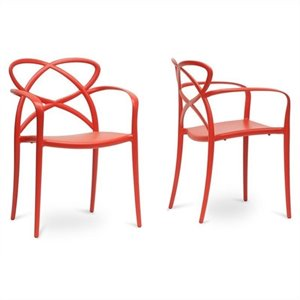Baxton Studio Huxx Stackable Dining Chair in Red (Set of 2)