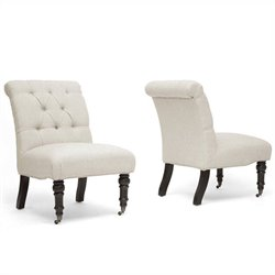 Baxton Studio Belden Upholstered Tufted Slipper Chair in Beige (Set of 2)