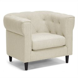 Baxton Studio Tufted Fabric Club Arm Chair in Beige