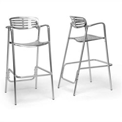 Baxton Studio Ethan Bar Stool in Silver (Set of 2)