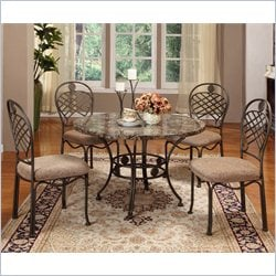 Baxton Studio Hera 5 Piece Dining Set in Brown