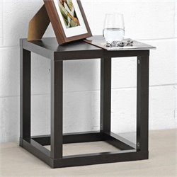 Baxton Studio Hallis Accent Table and Nightstand in Dark Brown
