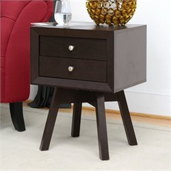 Baxton Studio Warwick Accent Table and Nightstand in Dark Brown